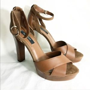 White House Black Market brown platform heels